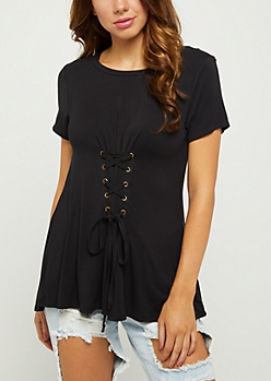 Black Lace Up Corset Tee