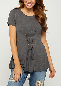 Charcoal Gray Lace Up Corset Tee