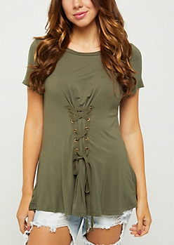 Olive Lace Up Corset Tee