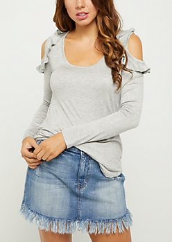 Heather Gray Ruffled Cold Shoulder Tee