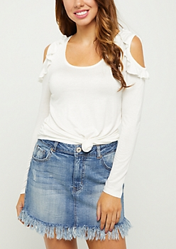 Ivory Ruffled Cold Shoulder Tee