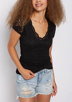 Black Lace V Neck Tee