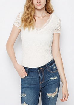 White Lace V Neck Tee