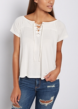 Ivory Lace Up Off Shoulder Shirt