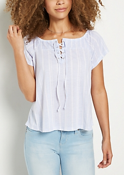 Striped Lace Up Off Shoulder Shirt
