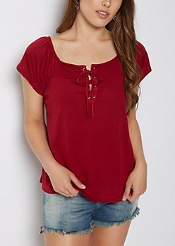 Burgundy Lace Up Off Shoulder Shirt