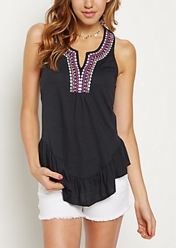 Black Tribal Embroidered Neck T-Back Tank