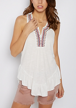 White Tribal Embroidered Neck T-Back Tank