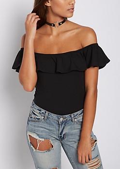 Black Flounce Off Shoulder Bodysuit
