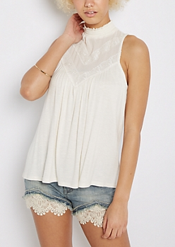 Chevron Lace High Neck Tank Top