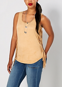 Camel Side Fringed Tank