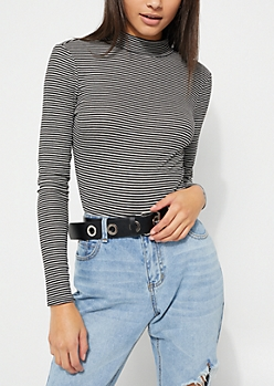 Stripe Long Sleeve Keyhole Cutout Bodysuit