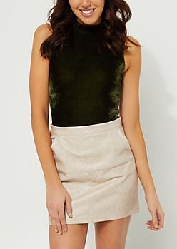 Olive Mock Neck Velvet Bodysuit