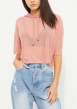Pink Hooded Knit Jersey Crop Top