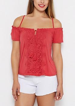 Coral Crochet Panel Off-Shoulder Top