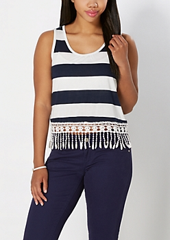 Navy & White Block Striped Crochet Trim Tank