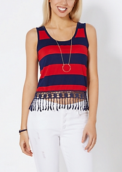 Red & Navy Block Striped Crochet Trim Tank
