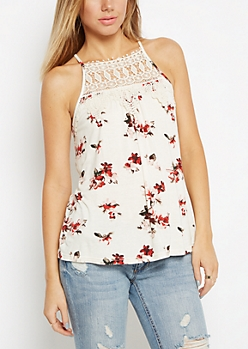 Ivory Rose Crochet High Neck Tank
