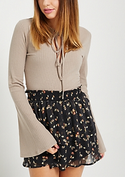 Taupe Rib Knit Keyhole Shirt