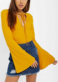 Mustard Rib Knit Keyhole Shirt