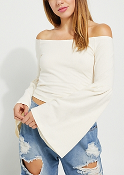Ivory Bell Sleeve Off Shoulder Top