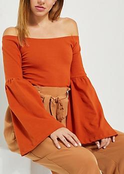 Burnt Orange Bell Sleeve Off Shoulder Top