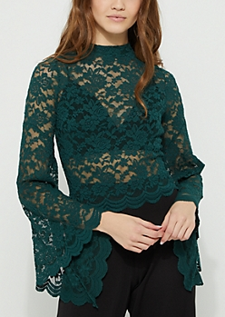 Teal Lace Bell Sleeve Top