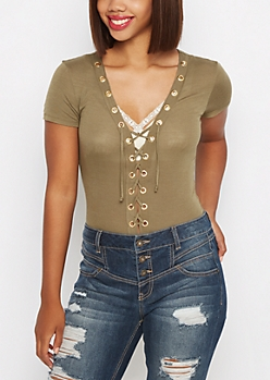 Olive Lace-Up Bodysuit