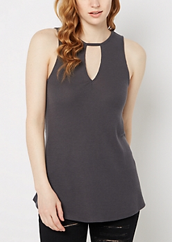 Charcoal Cutout High Neck Ribbed Tank