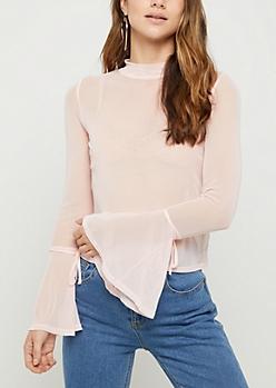 Pink Sheer Mesh Bell Sleeve Top