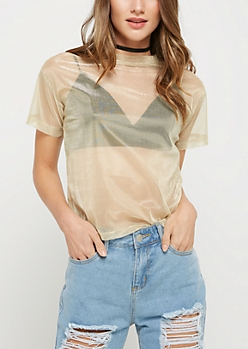 Gold Metallic Mesh Tee