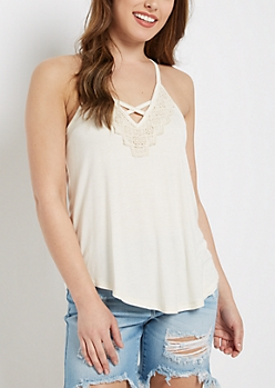 Ivory Crochet Caged V-Neck Tank