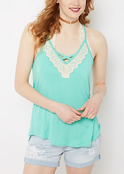 Mint Crochet Caged V-Neck Tank