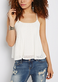 Eyelet Lace Swing Tank Top