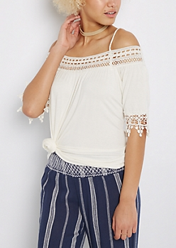 Ivory Geo Crochet Cold Shoulder Top