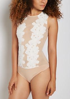 White Floral Crochet Bodysuit