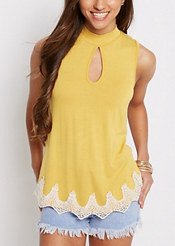 Yellow Keyhole Crochet Tank Top