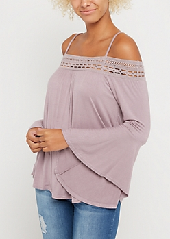 Light Purple Crochet Off Shoulder Shirt
