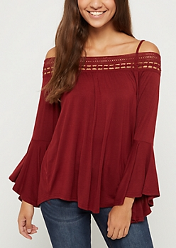 Burgundy Crochet Off Shoulder Shirt