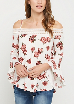 White Floral Crochet Off Shoulder Shirt