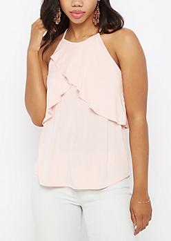 Pink Layered Flounce Cami