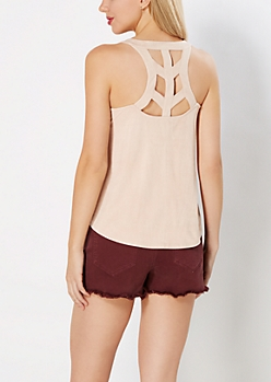 Pink Caged Faux Suede Swing Tank