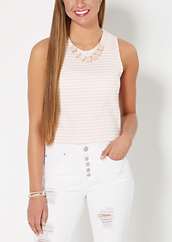 Pink Striped Statement Necklace Tank Top