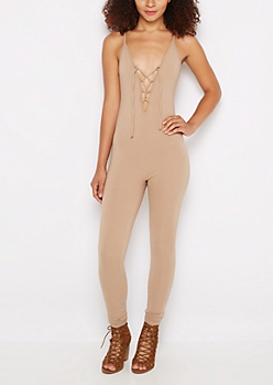 Nude Lace-Up Unitard