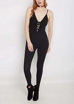 Black Lace-Up Cami Unitard