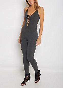 Charcoal Lace-Up Cami Unitard