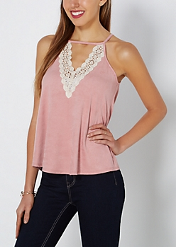 Pink V-Neck Faux Suede Tank Top