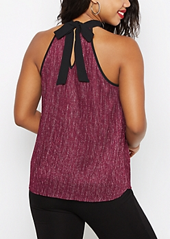 Plum Sparkling Pleated Halter Top