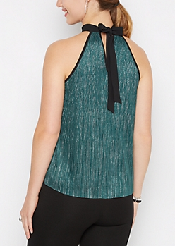 Teal Sparkling Pleated Halter Top
