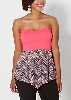 Neon Tribal Chevron Chiffon Tube Top